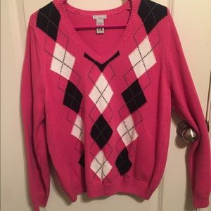 Pink and black Argyle Sweater